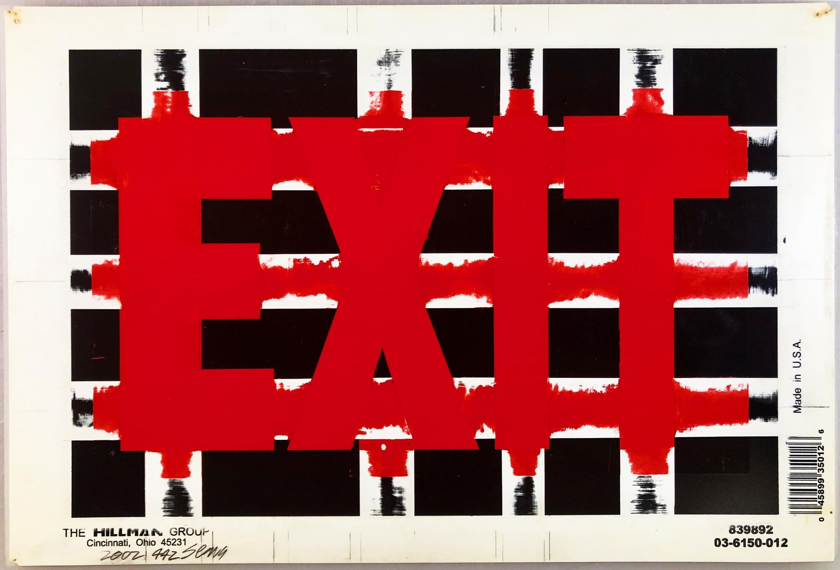 "Bob Seng, Exit 442, 2002, scraped, collaged, EXIT signs, 8"" x 12"""