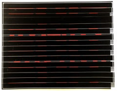 "Bob Seng, Exit 886, 2002, scraped, collaged, EXIT signs, 8"" x 12"""