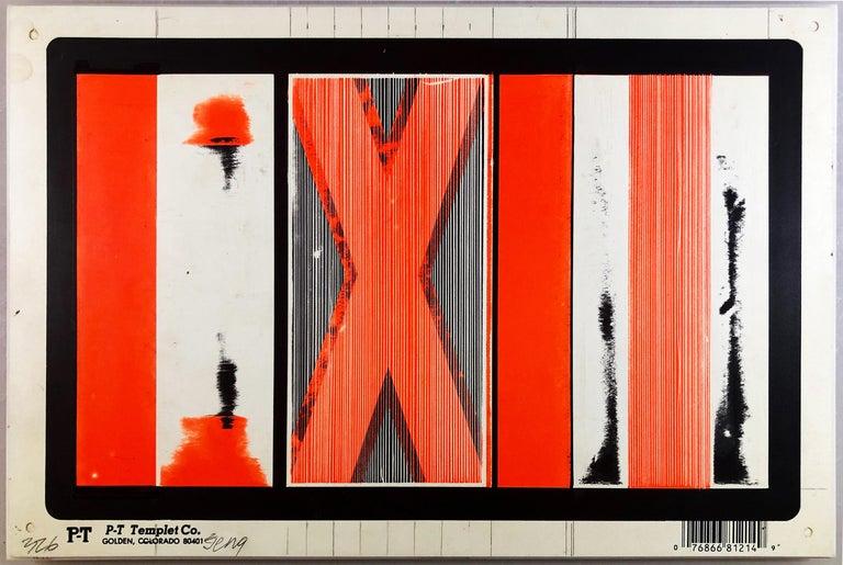 "Bob Seng, Exit 326, 2000, scraped, collaged, EXIT signs, 8"" x 12"" - Painting by Bob Seng"