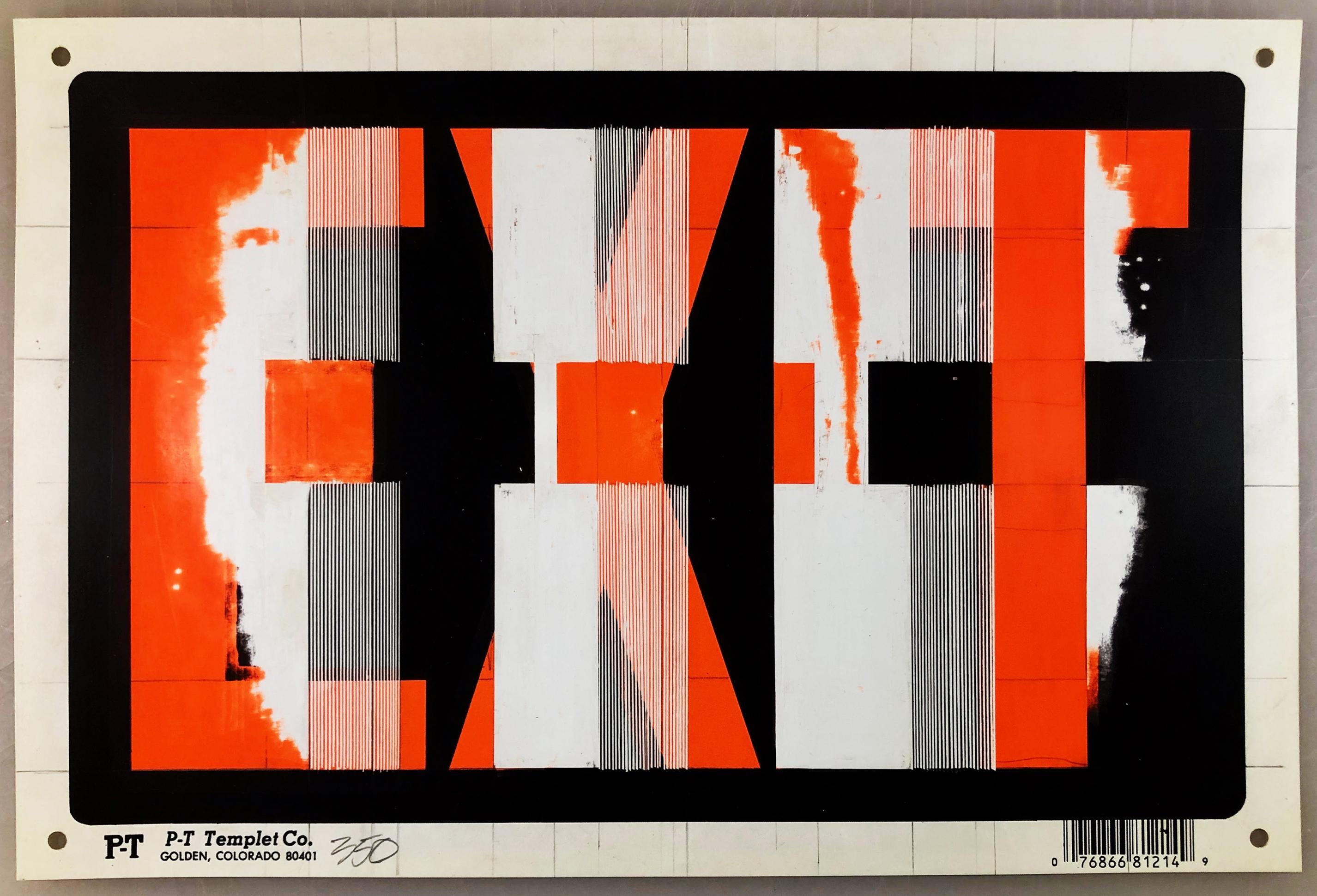 "Bob Seng, Exit 350, 2002, scraped, collaged, EXIT signs, 8"" x 12"""