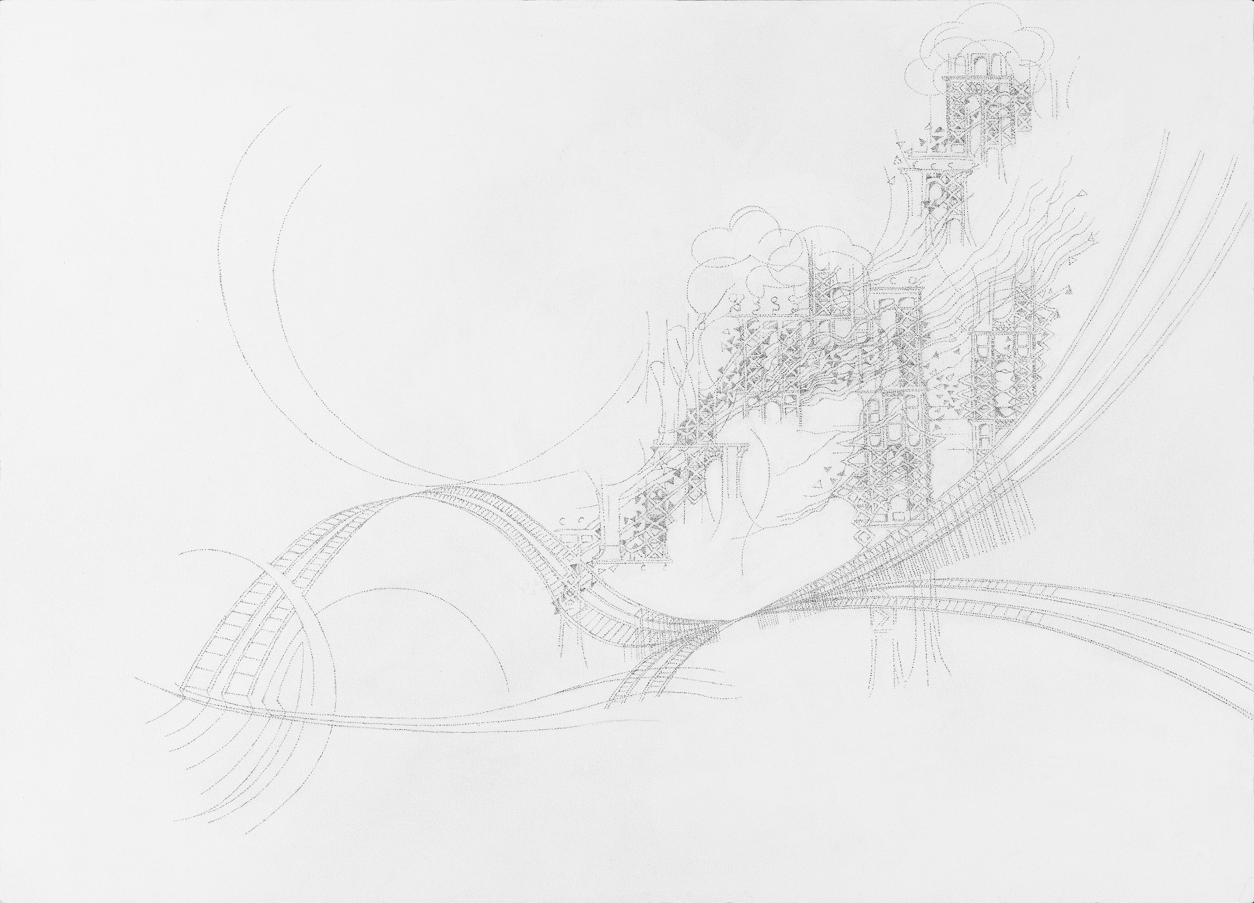 Katherine Jackson, Suspension of Disbelief II, 2015, Graphite, Paper, Framed