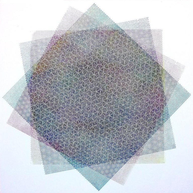 Matti Havens, Pattern Variation 1, 2018, screenprint, 19x19 in, Meditative Field - Gray Abstract Print by Matti Havens