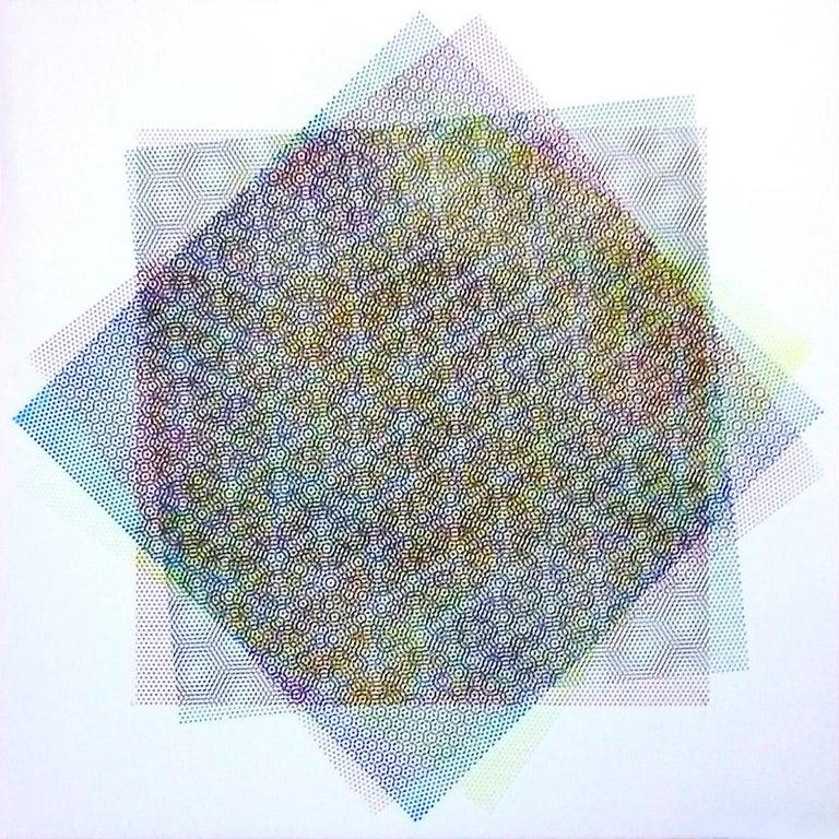 Matti Havens, Pattern Variation 1, 2018, screenprint, 19x19 in, Meditative Field For Sale 1