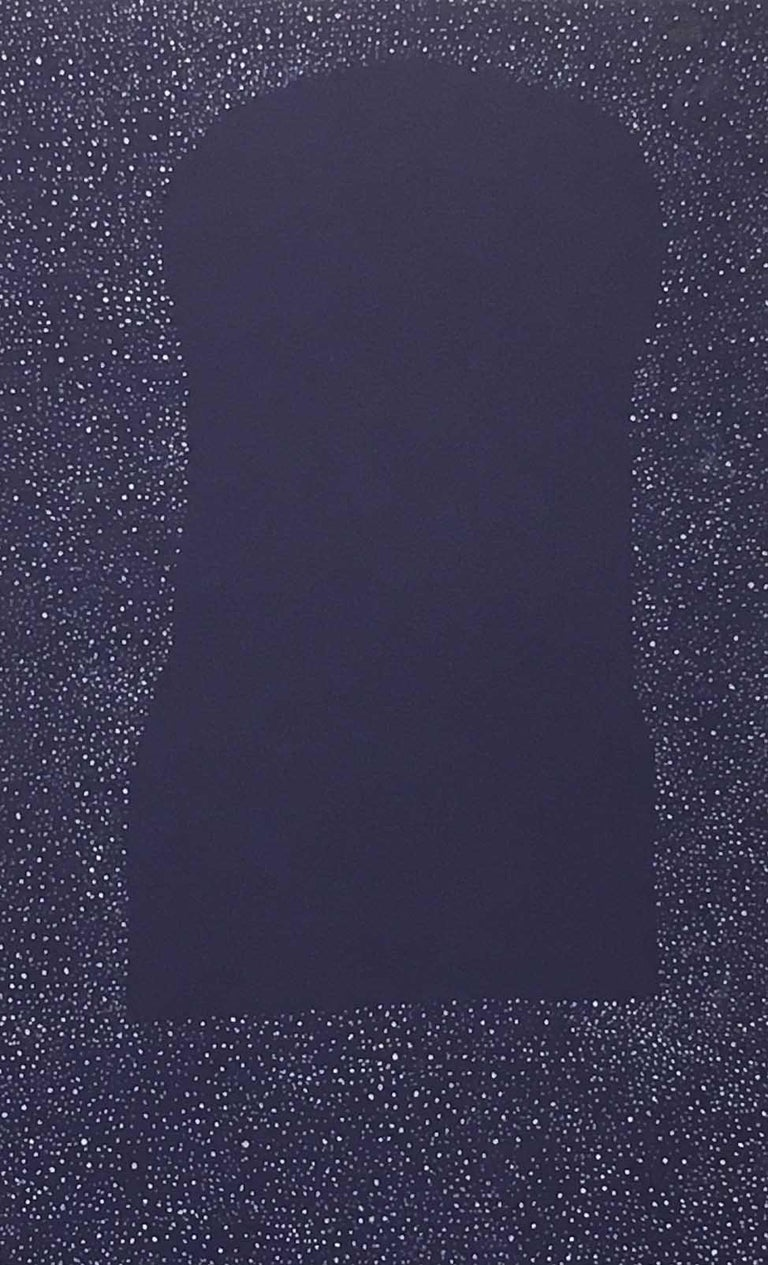 Andra Samelson, Next to Nothing 14, 2001, ink on mat board, 40x 32 inches - Purple Abstract Painting by Andra Samelson