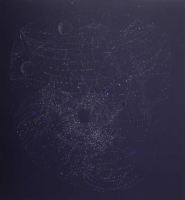Andra Samelson's work explores the relationship of microcosm and macrocosm, emptiness and form. The imagery in her paintings is often associated with molecular and galactic systems. Rendering forms from the inside, her migrating, dotted lines, made