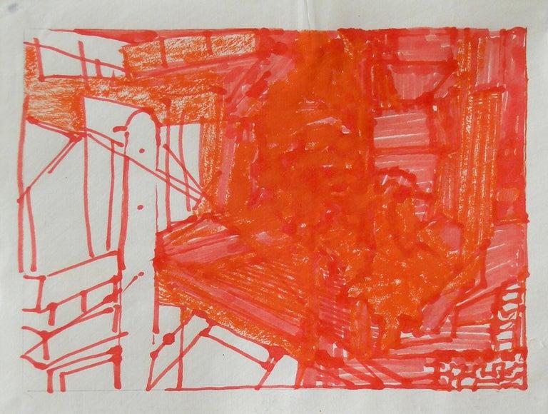 Josette Urso, Backyard 2, 2005, Ink Brush Drawing, 6 x 8 in - Orange Landscape Art by Josette Urso