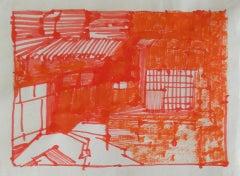 Josette Urso, Backyard 2, 2005, Ink Brush Drawing, 6 x 8 in
