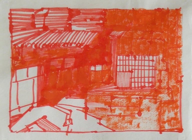 Josette Urso, Backyard 2, 2005, Ink Brush Drawing, 6 x 8 in - Art by Josette Urso