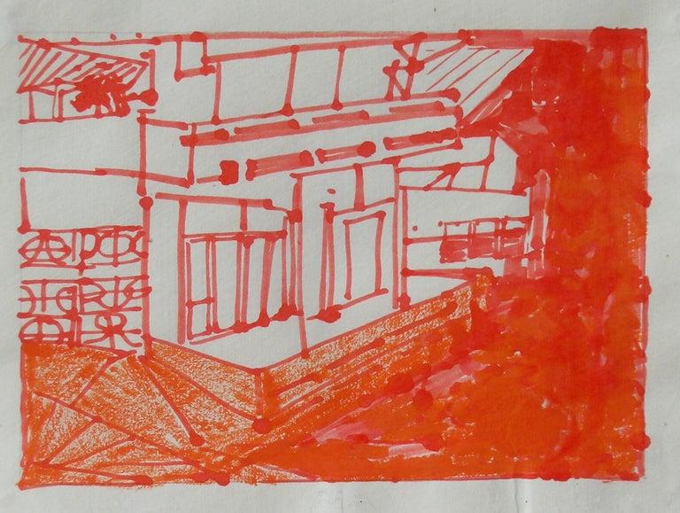 Josette Urso, Backyard 2, 2005, Ink Brush Drawing, 6 x 8 in - Abstract Art by Josette Urso