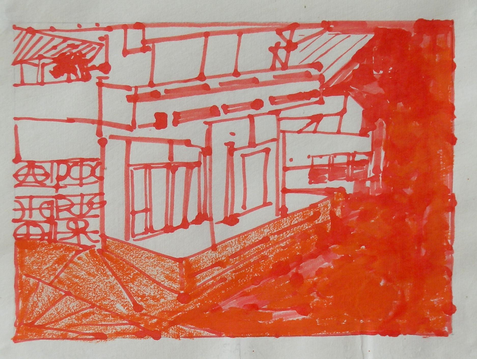 Josette Urso, Backyard 3, 2005, Ink Brush Drawing, 6 x 8 in