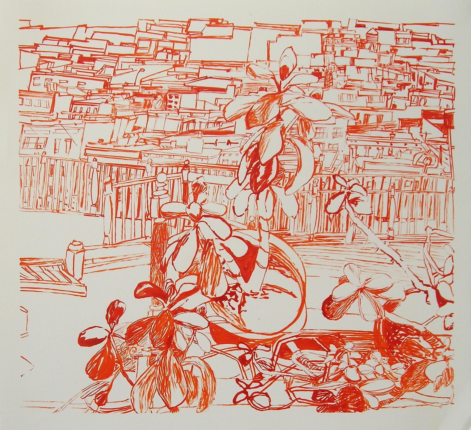 Josette Urso, Broken, 2018, Ink Brush Drawing, 12 x 13 in