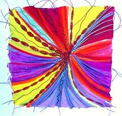 Alexandra Rutsch Brock, Burst, 2020, gouache, thread, 8 x 8 inches