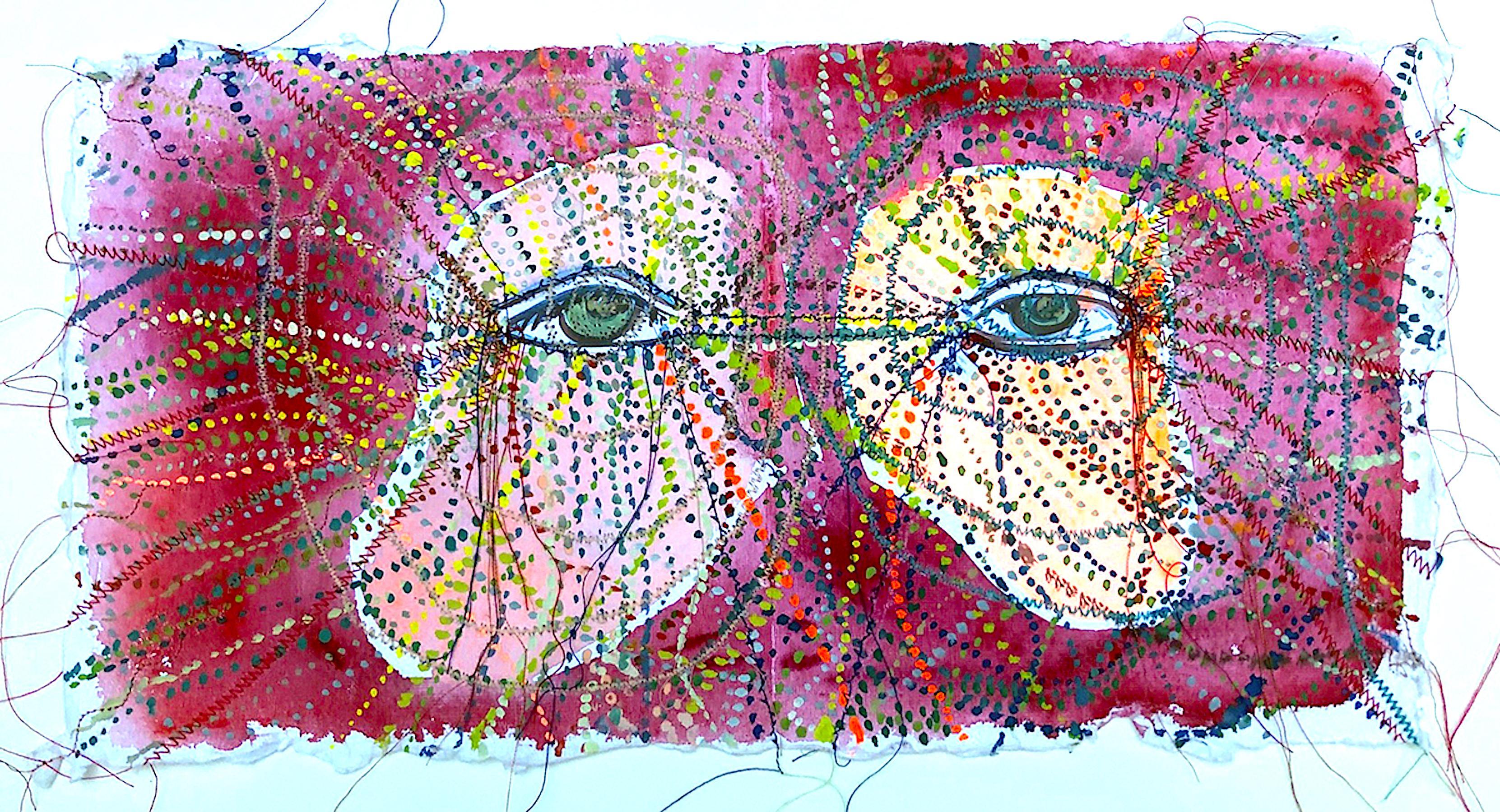Alexandra Rutsch Brock, Seeing Breathing, 2020, gouache, thread, 8 x 15 in