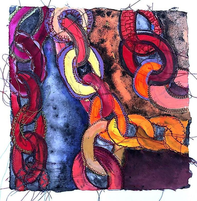 Alexandra Rutsch Brock, Connections, 2020, gouache, thread, 8 x 8 inches - Painting by Alexandra Rutsch Brock