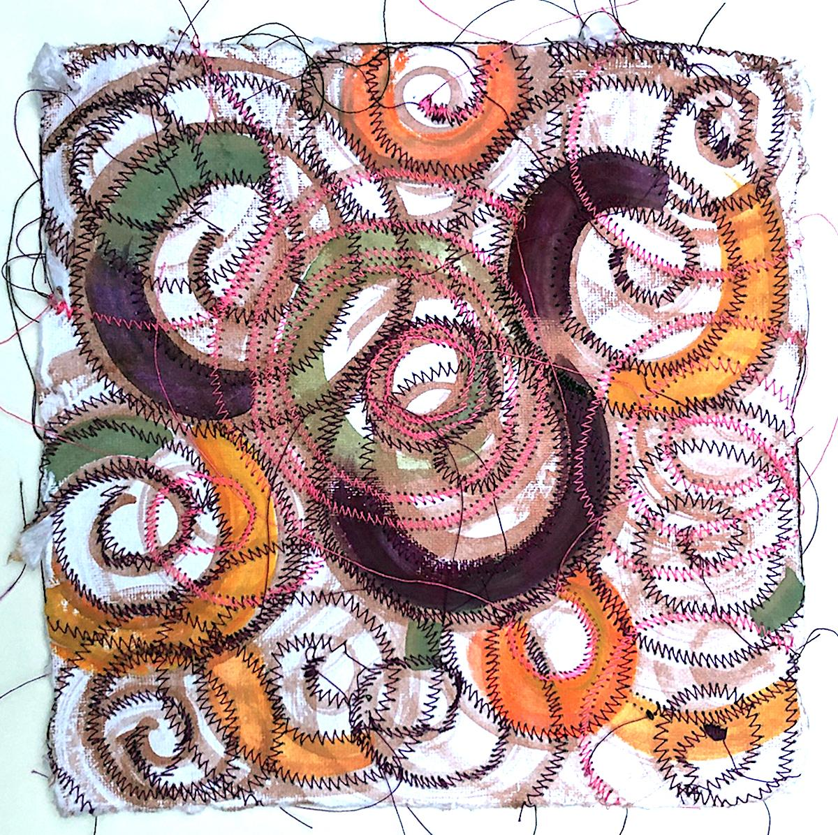 Alexandra Rutsch Brock, Currents, 2020, gouache, thread, 8 x 8 in