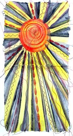 Alexandra Rutsch Brock, Sonne, 2020, gouache, thread, 15 x 8 in