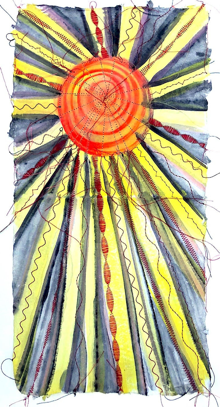 Alexandra Rutsch Brock, Sonne, 2020, gouache, thread, 15 x 8 in - Mixed Media Art by Alexandra Rutsch Brock