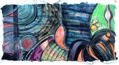 Alexandra Rutsch Brock, Eden, 2020, gouache, thread, 8 x 15 in