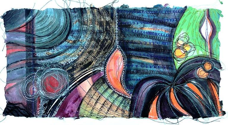 Alexandra Rutsch Brock, Eden, 2020, gouache, thread, 8 x 15 in - Painting by Alexandra Rutsch Brock