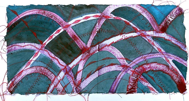 Alexandra Rutsch Brock, Bridges, 2020, gouache, thread, 8 x 15 in - Painting by Alexandra Rutsch Brock