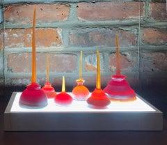 Katherine Jackson, Little Oil Seeing Red, 2020, Glass Wood Steel, Plexi, LED