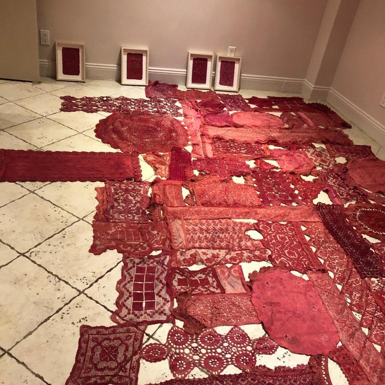 Patricia Miranda, Lamentations for Rebecca; 2020, lace, cochineal dye,thread For Sale 3
