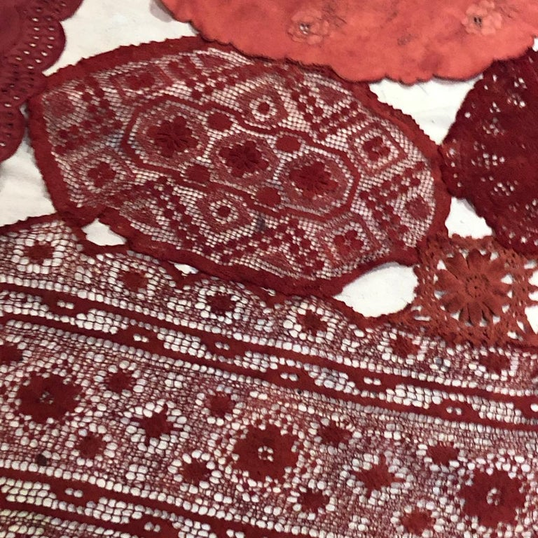 Patricia Miranda, Lamentations for Rebecca; 2020, lace, cochineal dye,thread - Feminist Sculpture by Patricia Miranda