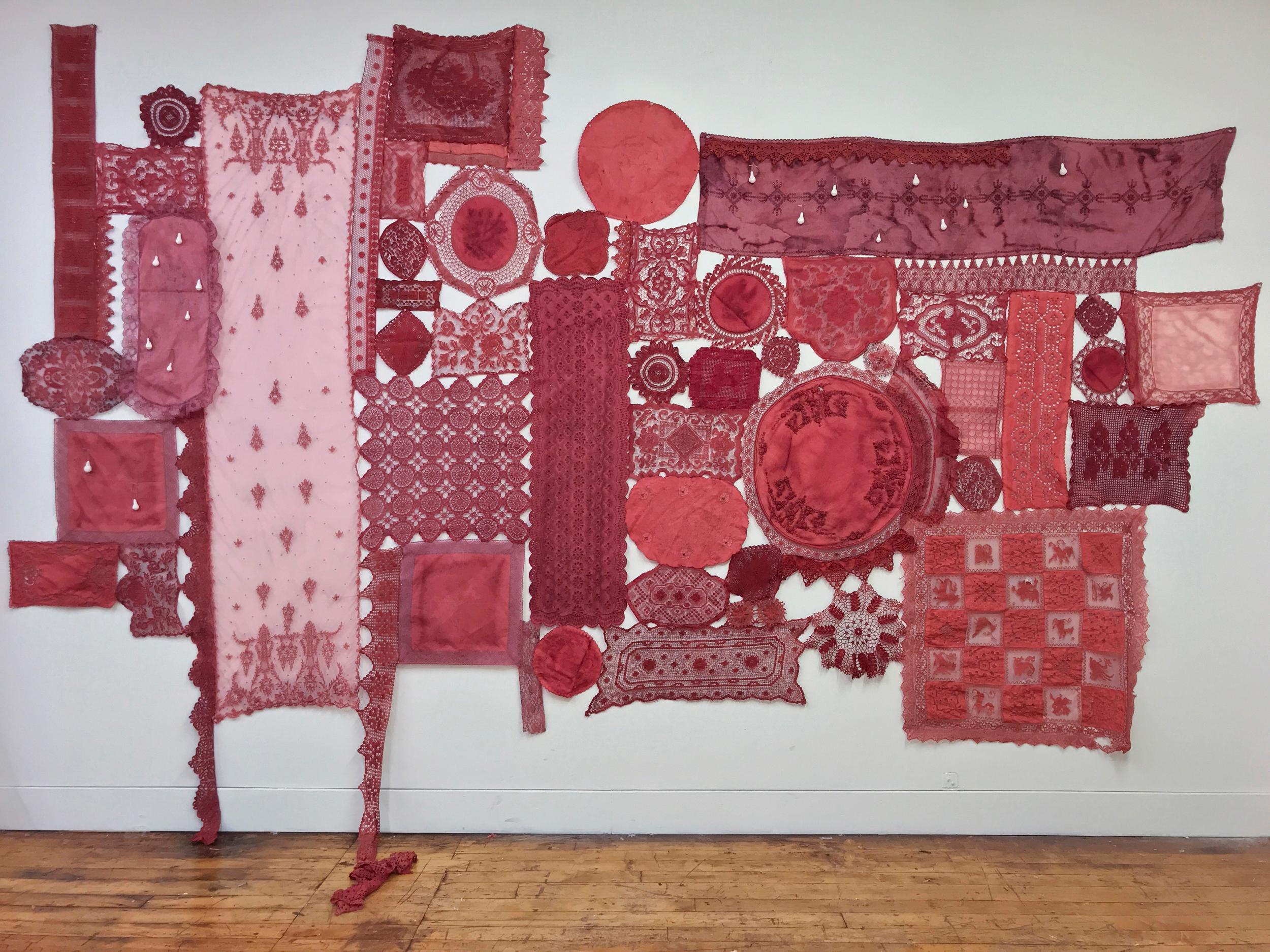 Patricia Miranda, Lamentations for Rebecca; 2020, lace, cochineal dye,thread