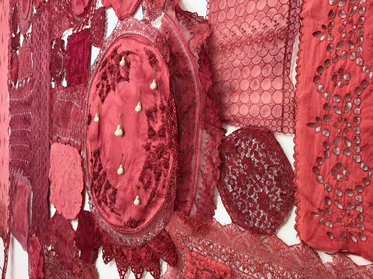 Patricia Miranda, Lamentations for Rebecca; 2020, lace, cochineal dye,thread - Brown Abstract Sculpture by Patricia Miranda