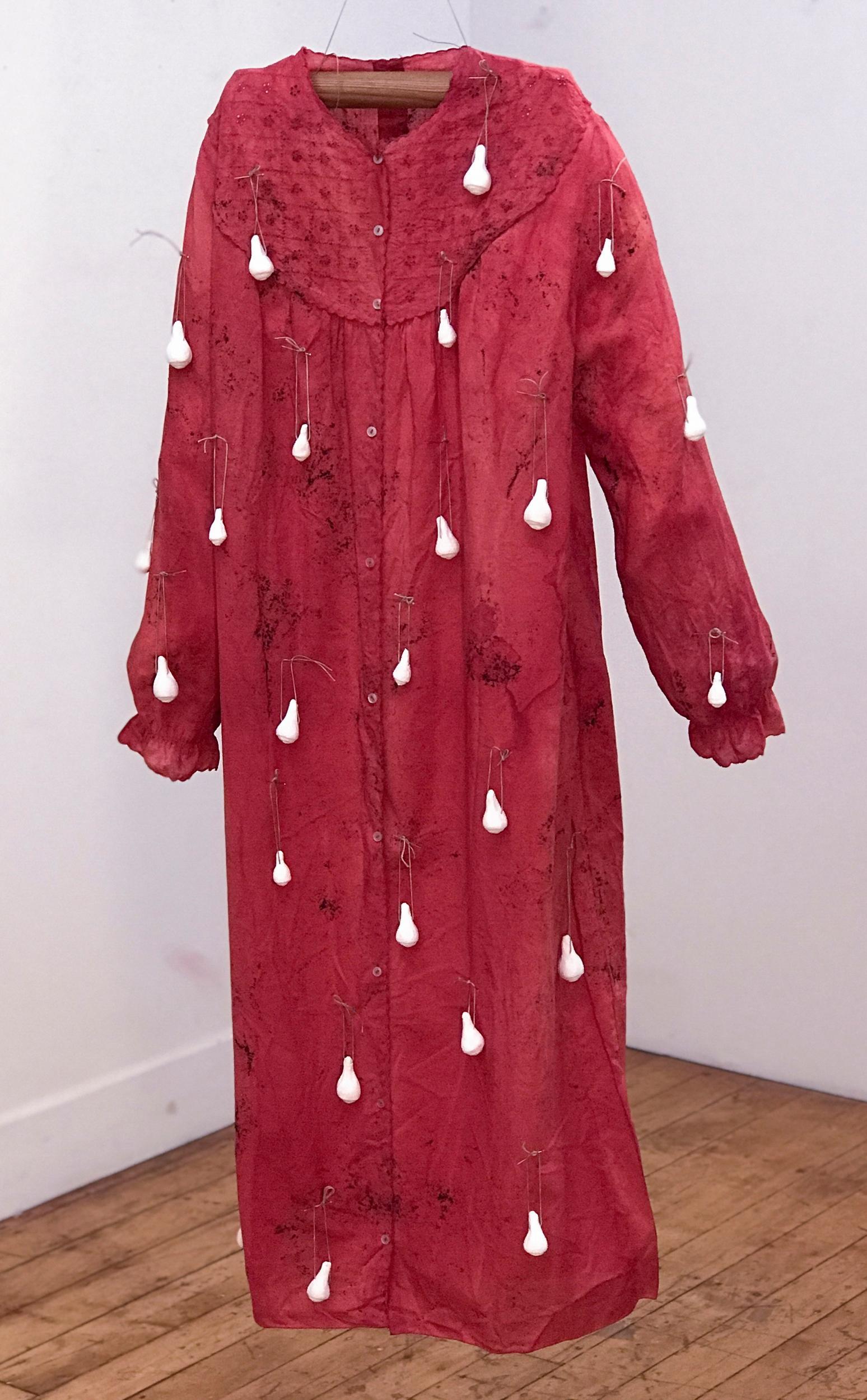 Patricia Miranda, Dreaming Awake, 2020, nightdress, cochineal dyes, plaster,