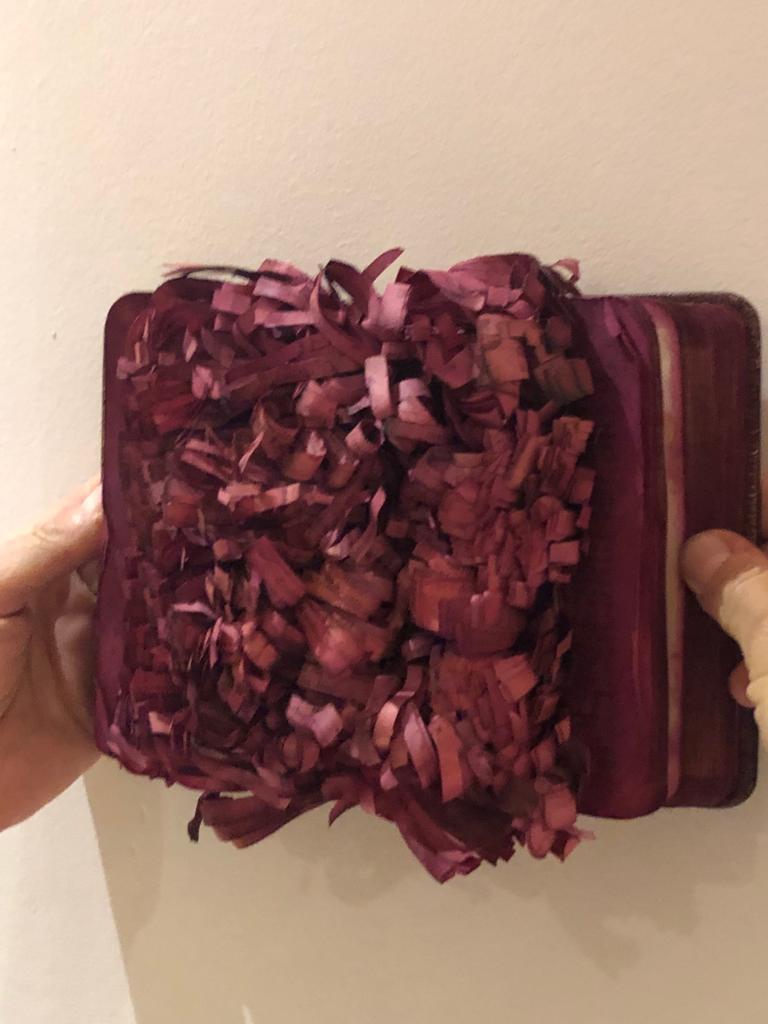 Patricia Miranda, Florilegium Series, 2016, cochineal dyes, antique books, pearl - Feminist Sculpture by Patricia Miranda