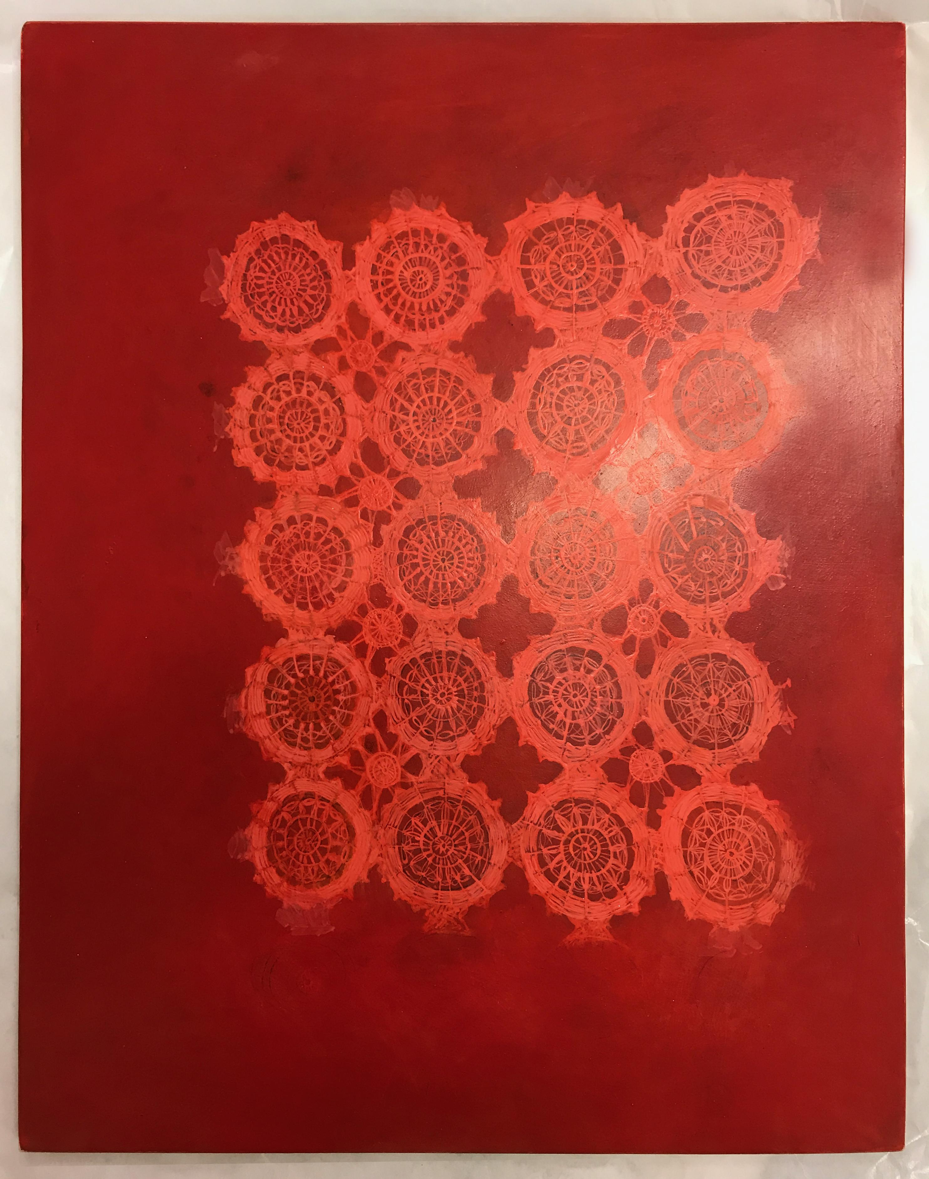 Patricia Miranda, Seeing Red Lace, 2020, egg tempera on panel