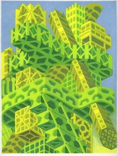 Michael Dal Cerro, Soviet Tower City, 2020, Linocut, Urban Landscape, Modern Art