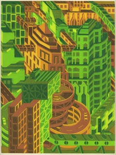 Michael Dal Cerro, Interlinking Skyways, 2020, Linocut, Urban Landscape, Modern