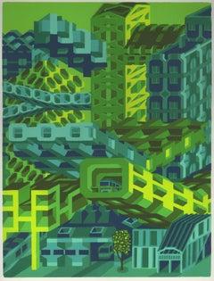 Michael Dal Cerro, Entryway, 2020, Linocut, Urban Landscape, Modern