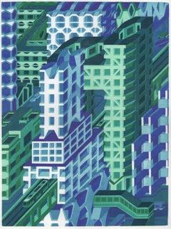 Michael Dal Cerro, Triumph of the Grid, 2019, Linocut, Urban Landscape, Modern