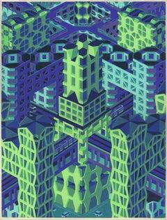 Michael Dal Cerro, Metropolis in Symmetry, 2019, Linocut, Urban Landscape