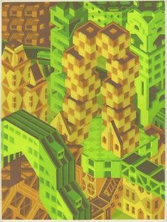 Michael Dal Cerro, Stepped Cubes, 2019, Linocut, Urban Landscape