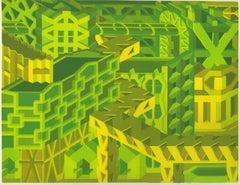 Michael Dal Cerro, Form Follows Function, 2020, Linocut, Urban Landscape, Modern