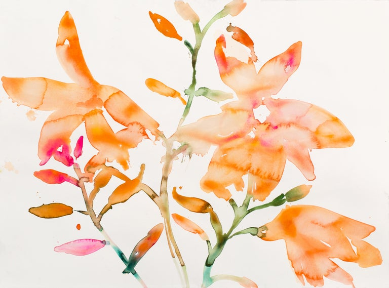 Kim McCarty is known for her watercolor on paper pieces, which utilize the wet on wet technique. This necessitates a rapid pace: after a fluid initial application, McCarty allows her paints to rest for just a moment before once again dictating the