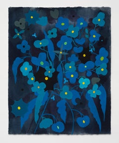 Flower Series: Turquoise and Blue on Dark Grey