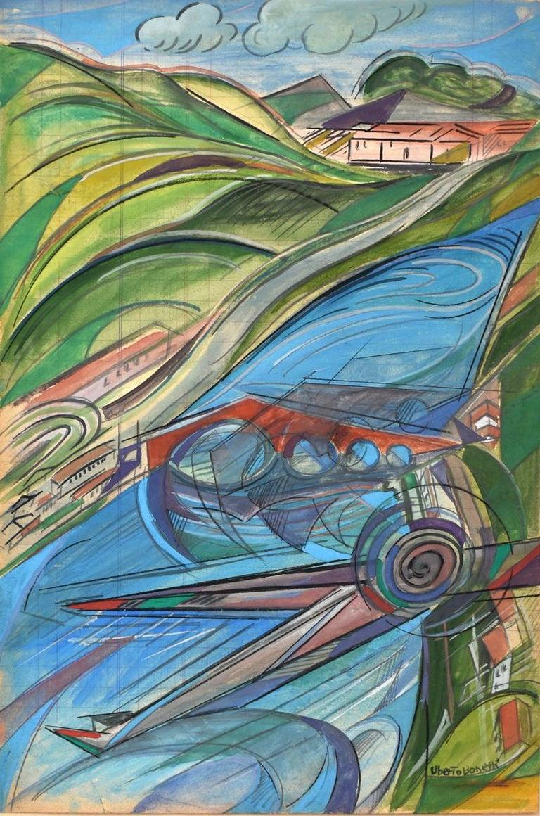 Uberto Bonetti Abstract Drawing - The Devil's Bridge,Lucca, Tuscany [Maddalena Bridge]