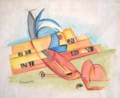 Untitled [Biplane]  Senza titolo [Biplano], Drawing, Italian Futurism
