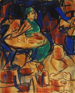 In the Cafe  Im Café - German expressionism, water-tempera