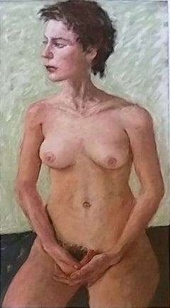 Nude Study -  Signed Pastel ,Israeli Realist Nude