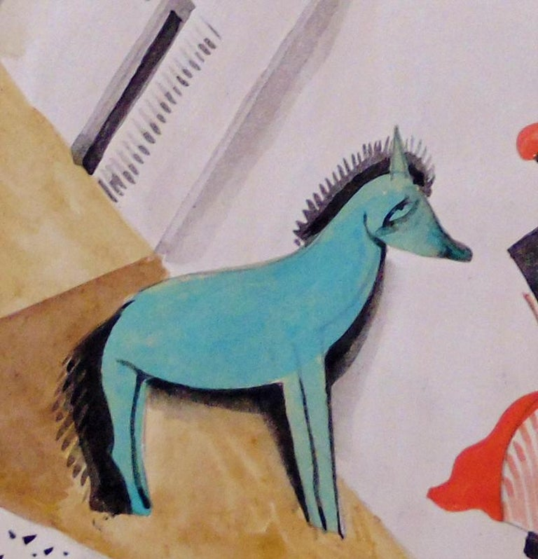 BÈLA KÀDÀR 1877-1956 Budapest 1877-1956 (Hungarian)   Title: Constructivist Cityscape with Green Horse, ca. 1920s  Technique: Signed Watercolour on Paper   Paper size: 27.8 x 20.2 cm. / 10.9 x 8 in.  Additional Information: This watercolour is hand