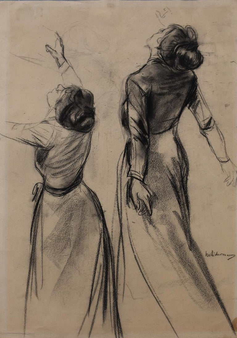 Max Liebermann Portrait - Double Study of a Woman's Back with outstretched Arms