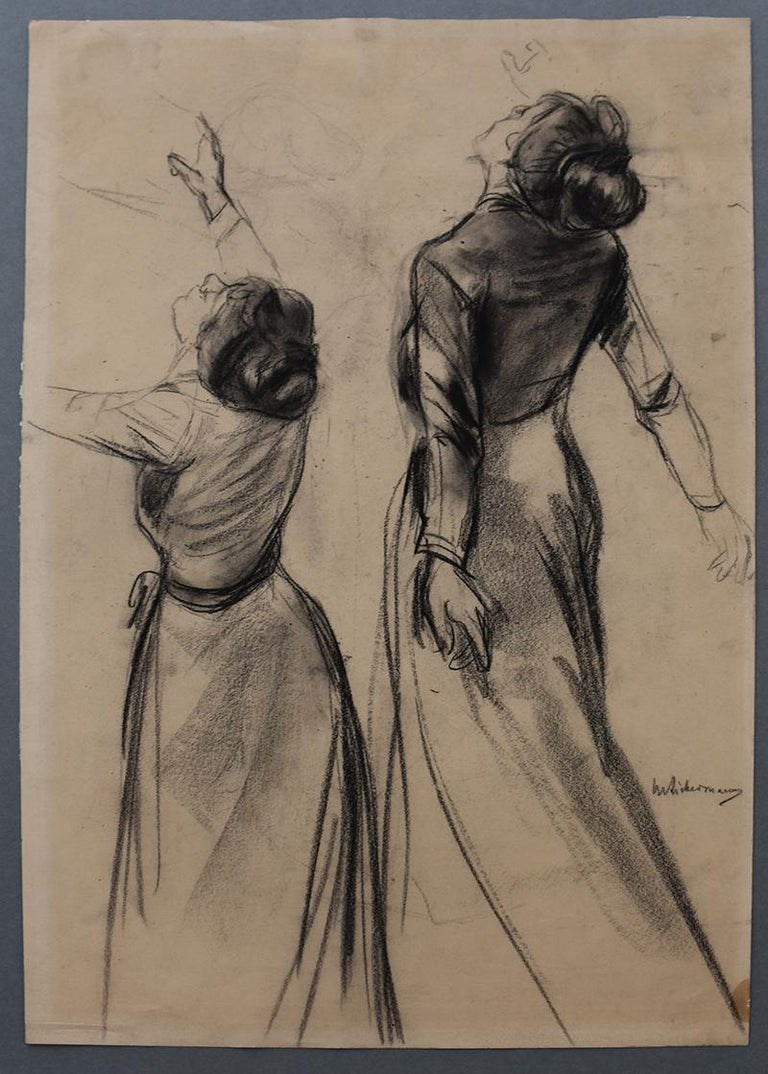 Double Study of a Woman's Back with outstretched Arms - Art by Max Liebermann