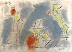 A Difference of Opinion - Watercolor German American Bauhaus