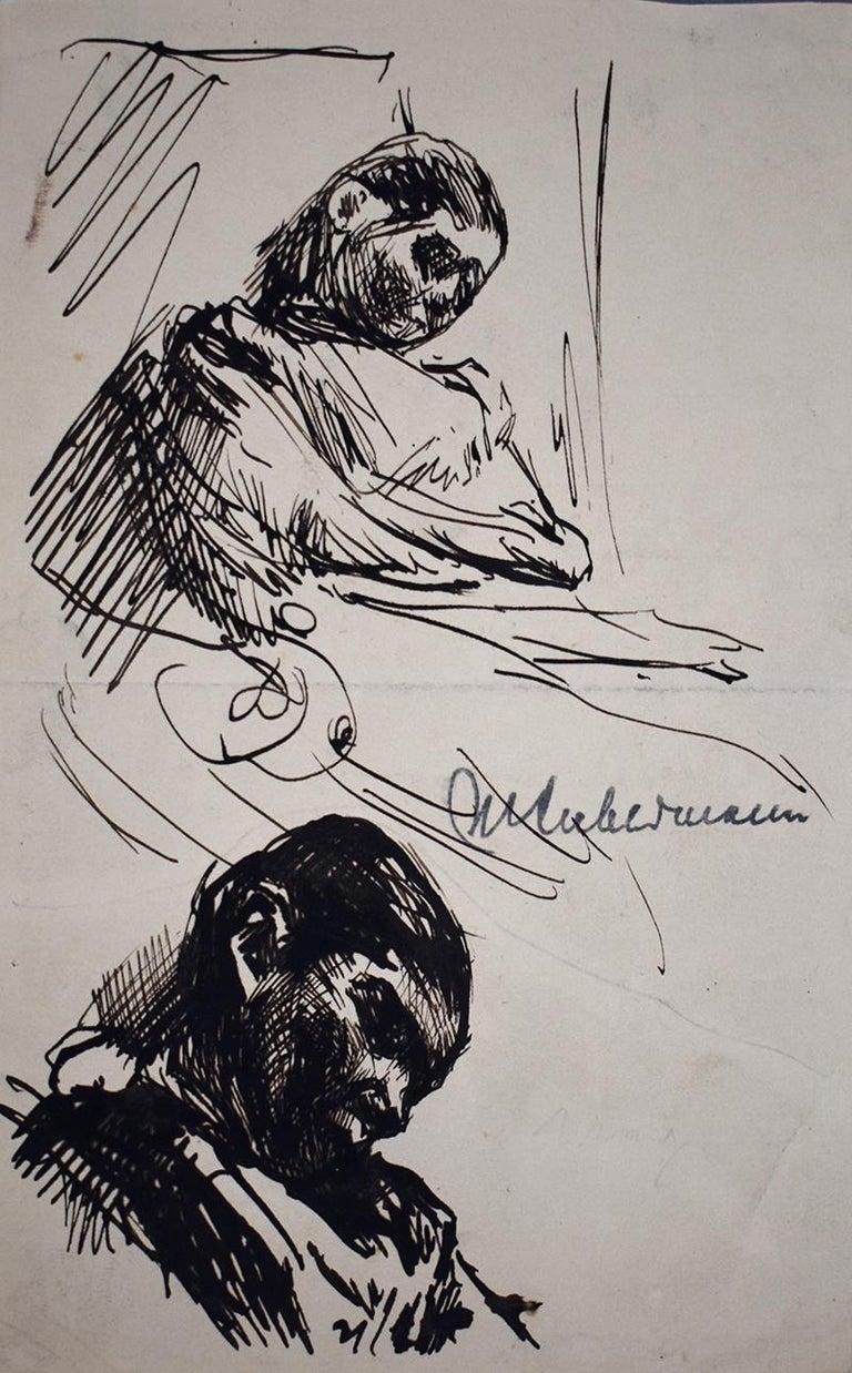 Max Liebermann Figurative Art - Sleeping – Double Portrait Martha Liebermann  Schlafende – Zwei studien von Mar